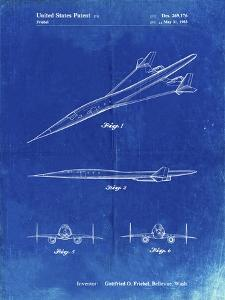 PP751-Faded Blueprint Boeing Supersonic Transport Concept Patent Poster by Cole Borders