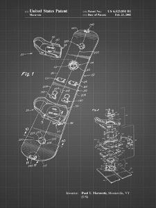 PP760-Black Grid Burton Touring Snowboard Patent Poster by Cole Borders