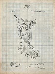 PP764-Antique Grid Parchment Christmas Stocking 1912 Patent Poster by Cole Borders