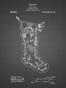 PP764-Black Grid Christmas Stocking 1912 Patent Poster by Cole Borders