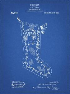 PP764-Blueprint Christmas Stocking 1912 Patent Poster by Cole Borders