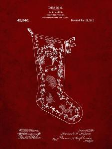 PP764-Burgundy Christmas Stocking 1912 Patent Poster by Cole Borders