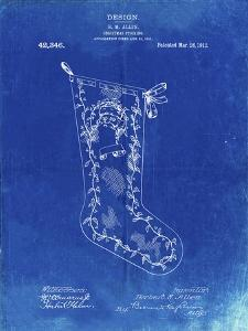 PP764-Faded Blueprint Christmas Stocking 1912 Patent Poster by Cole Borders