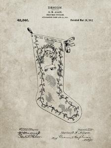 PP764-Sandstone Christmas Stocking 1912 Patent Poster by Cole Borders