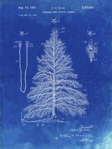 PP765-Faded Blueprint Christmas Tree Poster by Cole Borders