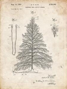 PP765-Vintage Parchment Christmas Tree Poster by Cole Borders