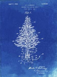PP766-Faded Blueprint Christmas Tree Poster by Cole Borders