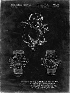 PP784-Black Grunge Dog Watch Clock Patent Poster by Cole Borders