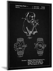 PP784-Vintage Black Dog Watch Clock Patent Poster by Cole Borders