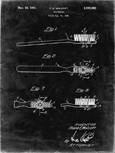 PP815-Black Grunge First Toothbrush Patent Poster by Cole Borders