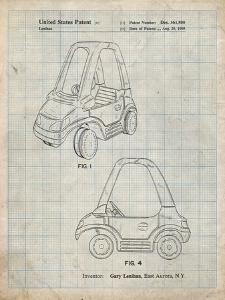 PP816-Antique Grid Parchment Fisher Price Toy Car Patent Poster by Cole Borders