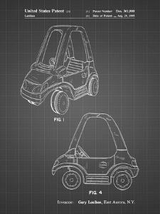 PP816-Black Grid Fisher Price Toy Car Patent Poster by Cole Borders