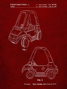 PP816-Burgundy Fisher Price Toy Car Patent Poster by Cole Borders