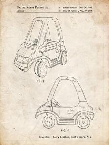 PP816-Vintage Parchment Fisher Price Toy Car Patent Poster by Cole Borders
