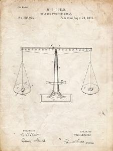 PP84-Vintage Parchment Scales of Justice Patent Poster by Cole Borders
