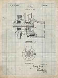 PP850-Antique Grid Parchment Ford Water Pump Patent Poster by Cole Borders