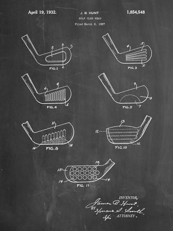 PP857-Chalkboard Golf Club Head Patent Poster