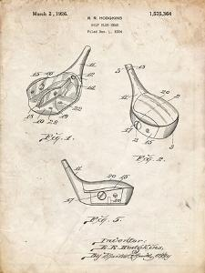PP858-Vintage Parchment Golf Fairway Club Head Patent Poster by Cole Borders