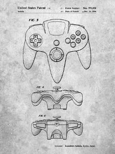 PP86-Slate Nintendo 64 Controller Patent Poster by Cole Borders