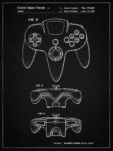 PP86-Vintage Black Nintendo 64 Controller Patent Poster by Cole Borders