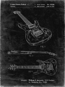 PP888-Black Grunge Ibanez Pro 540RBB Electric Guitar Patent Poster by Cole Borders