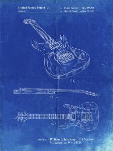 PP888-Faded Blueprint Ibanez Pro 540RBB Electric Guitar Patent Poster by Cole Borders