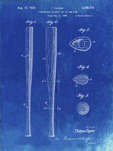 PP89-Faded Blueprint Vintage Baseball Bat 1939 Patent Poster by Cole Borders