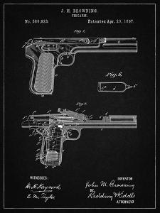 PP894-Vintage Black J.M. Browning Pistol Patent Poster by Cole Borders