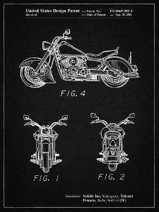 PP901-Vintage Black Kawasaki Motorcycle Patent Poster by Cole Borders