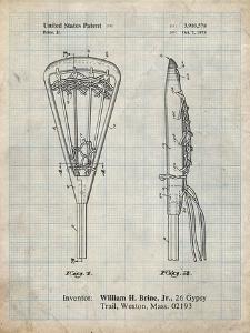 PP915-Antique Grid Parchment Lacrosse Stick 1936 Patent Poster by Cole Borders