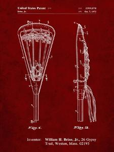 PP915-Burgundy Lacrosse Stick 1936 Patent Poster by Cole Borders