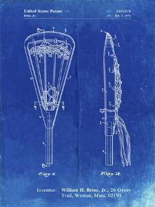 PP915-Faded Blueprint Lacrosse Stick 1936 Patent Poster by Cole Borders