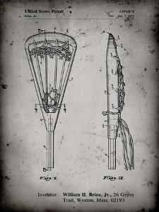 PP915-Faded Grey Lacrosse Stick 1936 Patent Poster by Cole Borders