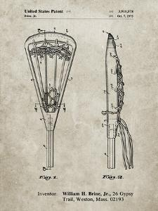 PP915-Sandstone Lacrosse Stick 1936 Patent Poster by Cole Borders