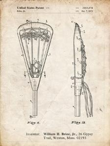 PP915-Vintage Parchment Lacrosse Stick 1936 Patent Poster by Cole Borders