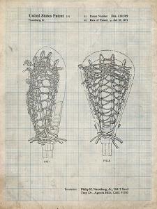 PP916-Antique Grid Parchment Lacrosse Stick Patent Poster by Cole Borders