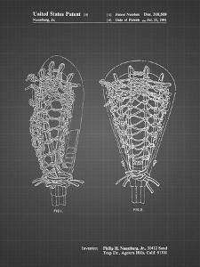 PP916-Black Grid Lacrosse Stick Patent Poster by Cole Borders