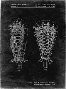 PP916-Black Grunge Lacrosse Stick Patent Poster by Cole Borders