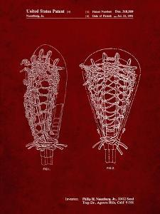 PP916-Burgundy Lacrosse Stick Patent Poster by Cole Borders
