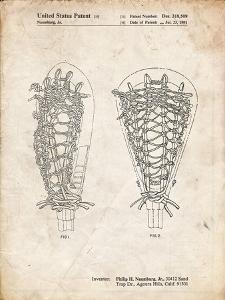 PP916-Vintage Parchment Lacrosse Stick Patent Poster by Cole Borders