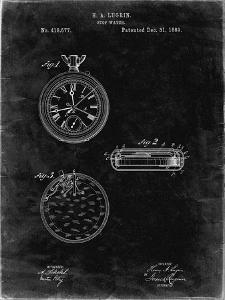 PP940-Black Grunge Lemania Swiss Stopwatch Patent Poster by Cole Borders