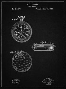 PP940-Vintage Black Lemania Swiss Stopwatch Patent Poster by Cole Borders