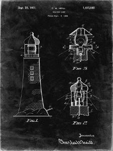PP941-Black Grunge Lighthouse Patent Poster by Cole Borders