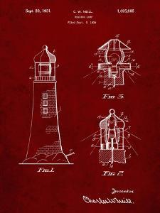 PP941-Burgundy Lighthouse Patent Poster by Cole Borders