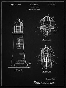 PP941-Vintage Black Lighthouse Patent Poster by Cole Borders