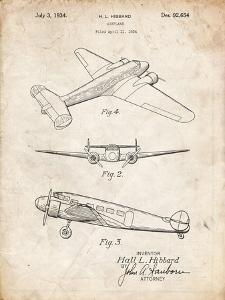 PP945-Vintage Parchment Lockheed Electra Airplane Patent Poster by Cole Borders