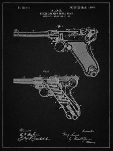 PP947-Vintage Black Luger Pistol Patent Poster by Cole Borders