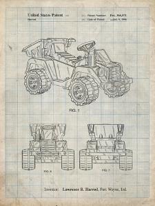 PP951-Antique Grid Parchment Mattel Kids Dump Truck Patent Poster by Cole Borders
