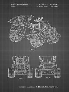 PP951-Black Grid Mattel Kids Dump Truck Patent Poster by Cole Borders