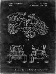 PP951-Black Grunge Mattel Kids Dump Truck Patent Poster by Cole Borders
